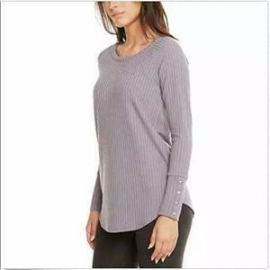Chaser Purple Thermal Knit Henley Top Large